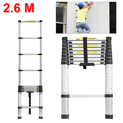 Single 2.6M Multi-Purpose Aluminium Telescopic Ladder Extension Extendable Steps