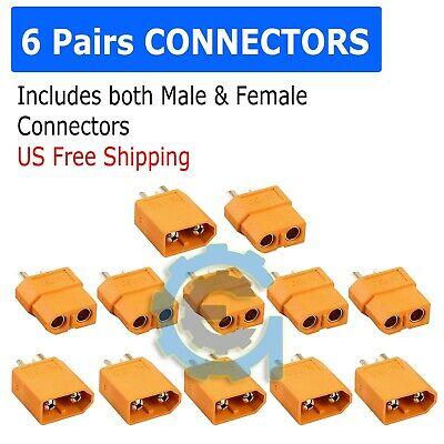 12PCS XT-60 XT60 Male Female Gold Plated Bullet Connectors RC Lipo Power Plugs