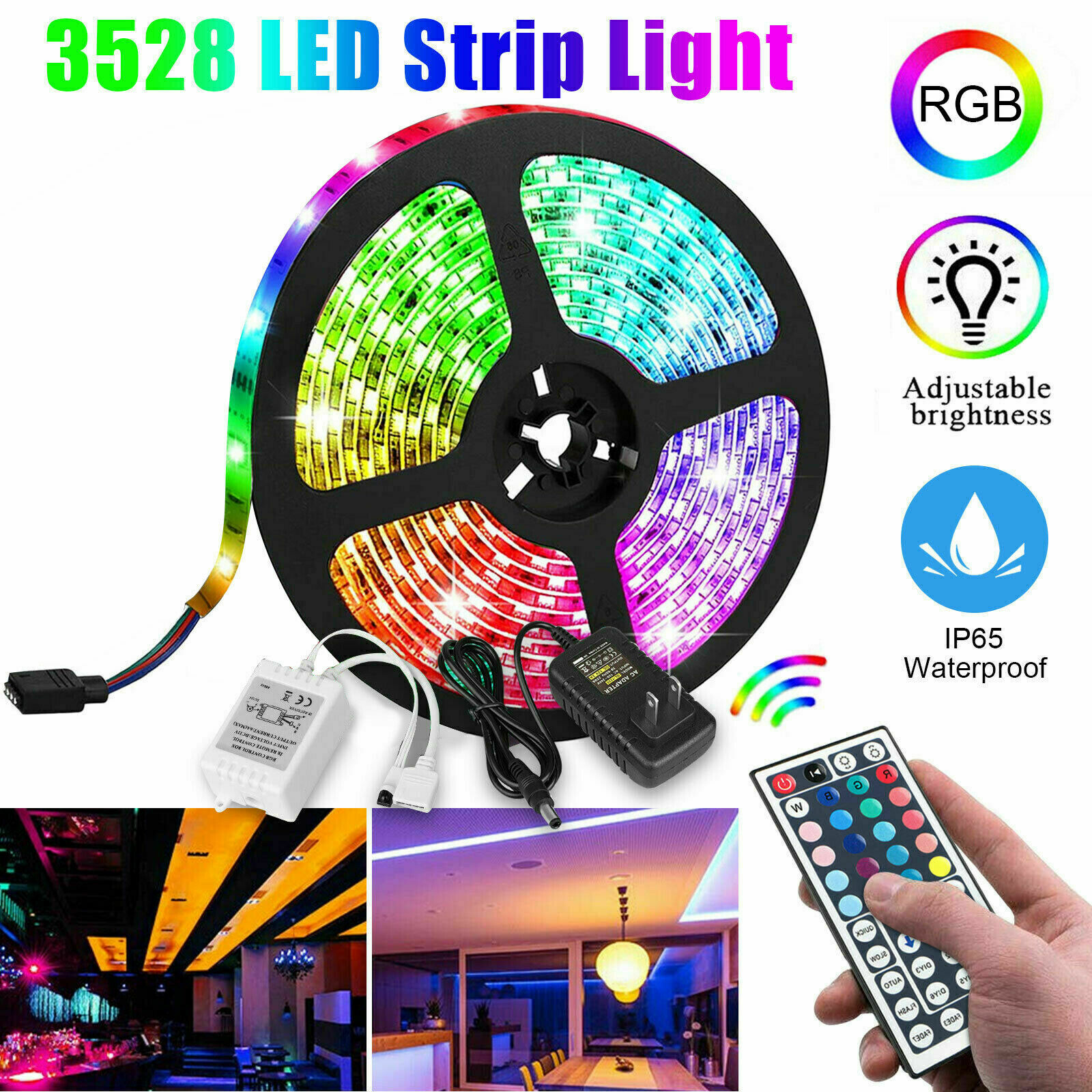 5M 16.4ft RGB Waterproof 300 LED 3528 SMD Flexible Strip Light 12V+Remote+Power Home & Garden