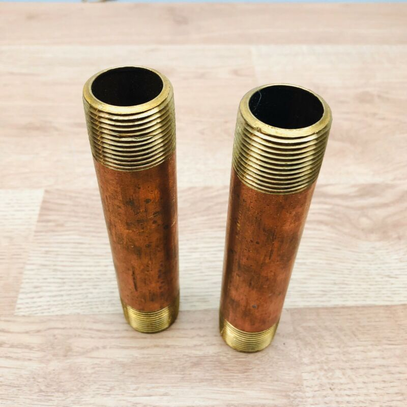 """LOT OF 2 UNBRANDED RED COPPER PIPE NIPPLE 1"""" X 6"""""""
