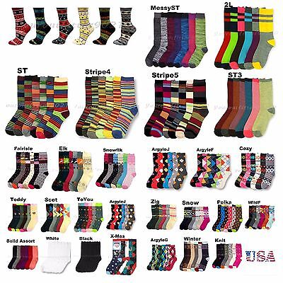 Women Teen Fashion Crew Socks Pattern Argyle Stripe Casual  9-11 3 -6 -12 Unisex - Teen Socks