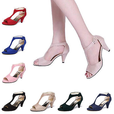 New Women's Open Toe Ankle T-Strap Shoes Mid Heel Sandals Party Bridal Wedding Mid Heel Bridal Shoes