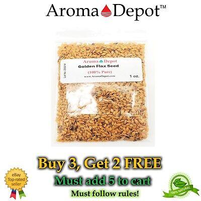 Flax Seed Gluten Free - 1 oz Whole Golden Grain Flax Seed 100% Pure Natural Omega-3 NON GMO Gluten Free
