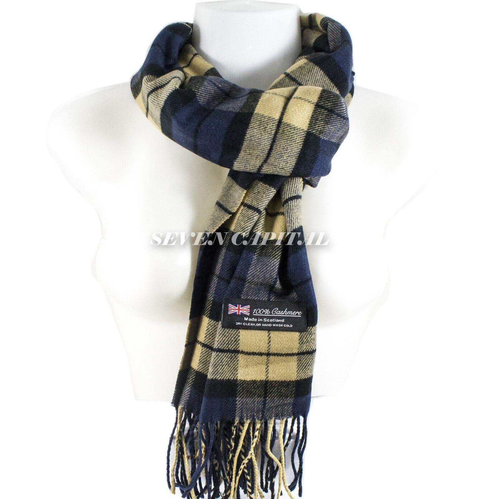 Mens Womens Winter Warm SCOTLAND Made 100% CASHMERE Scarf Scarves Plaid Wool 1. Plaid: Navy/Beige