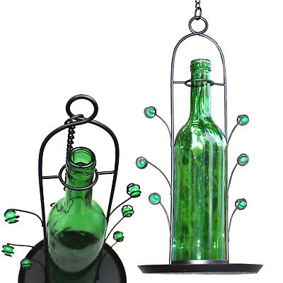Bird Seed Cafe Feeder Wine Bottle Hanging Vino Great Gift Bottom Fill Green NEW