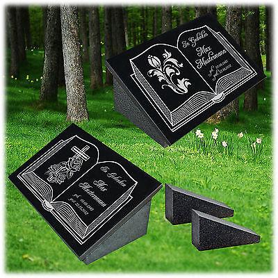 Grabstein Grabplatte Trauerplatte Granit Wunschgravur + Doppelstütze 50x30x1 cm