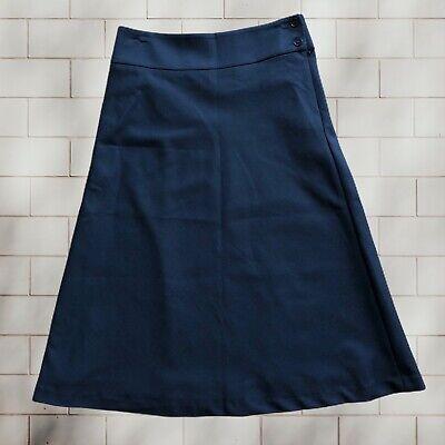Talbots Petites Black A-Line Full Midi Career Skirt Wool Size 2P