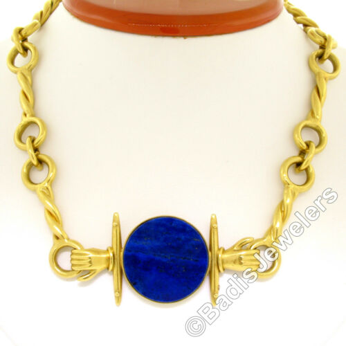 Ilias Lalaounis 18K Gold Lapis Disk Twisted Fancy Link Choker Collar Necklace