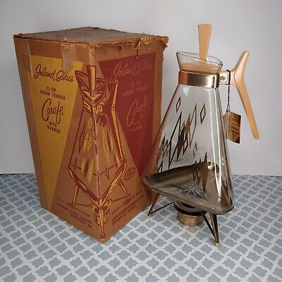 Vtg 1950's Inland Glass Co 22K Golden Triangle 12 cup carafe diamond pattern MCM