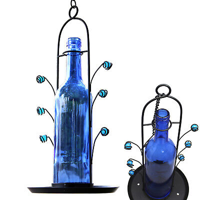 NEW Hanging Wine Bottle Bird Seed Cafe Feeder Vino Great Gift Bottom Fill Blue
