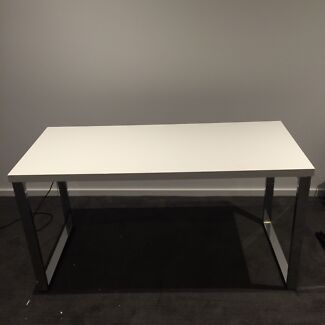White gloss chrome study desks x 2 Southbank Melbourne City Preview