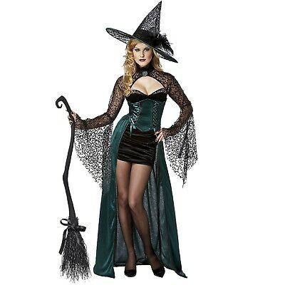 Women's Teen Wicked Witch Enchantress Halloween Costume Green Dress Hat Shrug - Teens Halloween Costumes