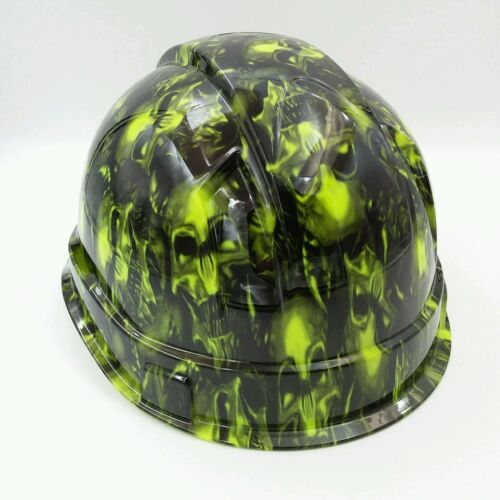 Hard Hat custom hydro dipped , OSHA approved TERMINATOR SKULLS LIME GREEN 3