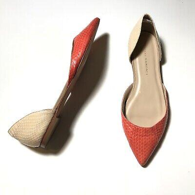 EUC Loeffler Randall Snake Embossed Dorsay Colorblock Flats Pink Cream Size 7