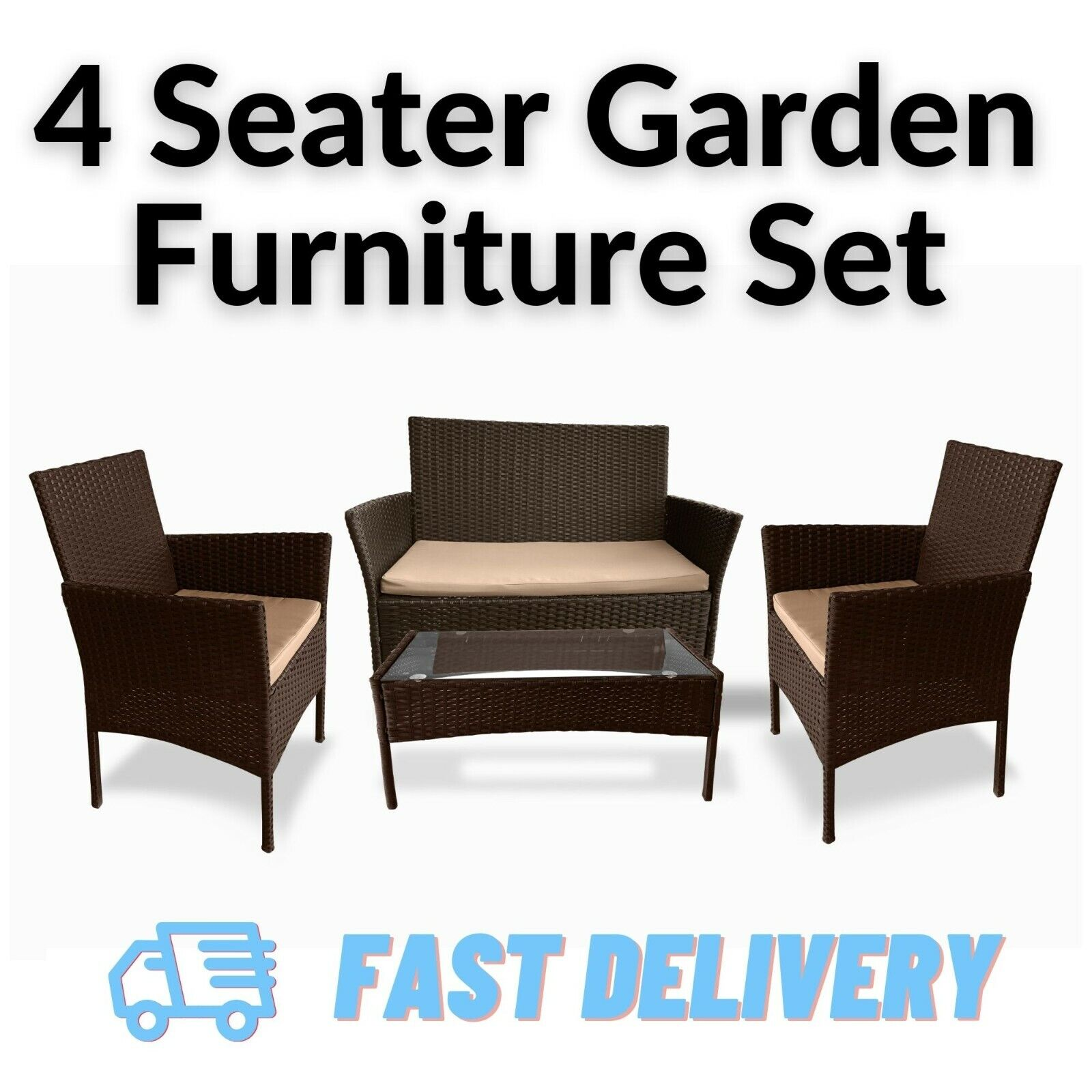 Garden Furniture - Rattan Garden Furniture Set Outdoor Patio 4 Seater Chairs Sofa and Table Lounge
