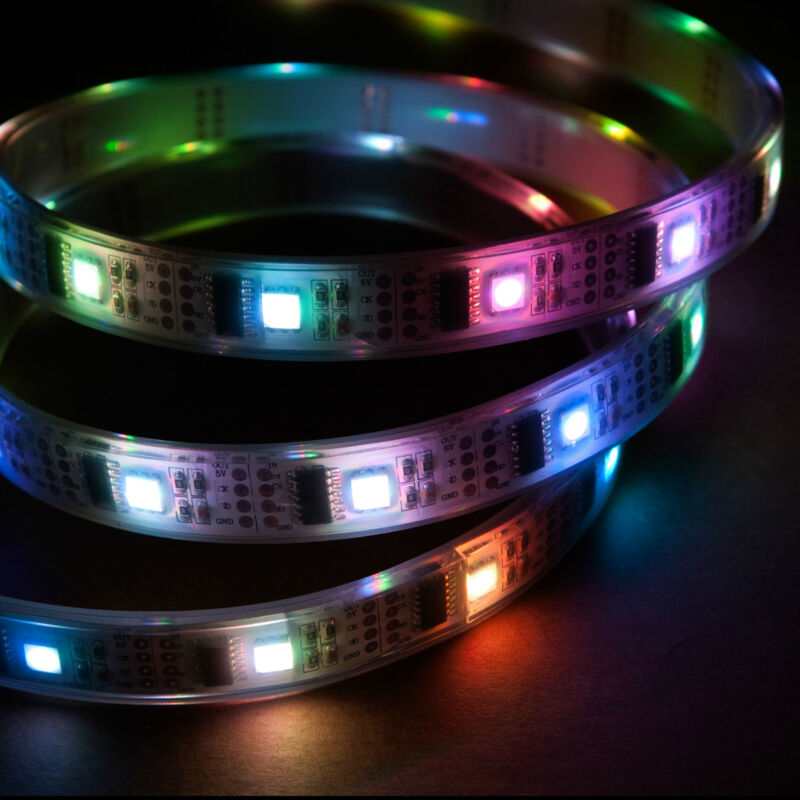 1m Addressable RGB LED Light Strip, 5V WS2801 IP68 Waterproof 32 LED/m Color USA