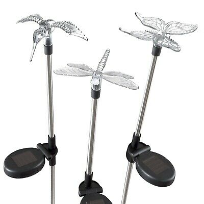 3 Solar Lights Butterfly Hummingbird Dragonfly 30 Inches High Garden Yard Decor - Butterfly Lights