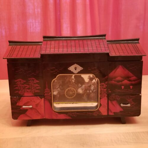 Vintage Japanese Musical Jewelry Box with Moving Parts
