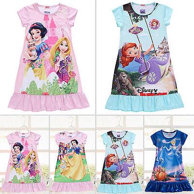Nachthemd Schlafanzug Pyjama Mädchen Disney Frozen Freizeit Kleid Nachtwäsche