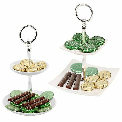 2 Tier Ceramic Cake Stand Round Or Square Display Food Serving Platter Chocolate ()