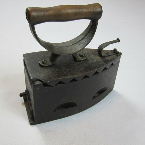 Antique 1800s Cast Sad Iron Charcoal Coal Clothes Iron Press Wooden Handle