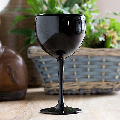 Polycarbonate Plastic Wine Glasses - 4 x Black Polycarbonate Plastic 40cl Reusable Gin Balloon Wine Cocktail Glasses