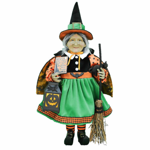 "21"" Karen Didion LIGHTED Pumpkin Witch w Broom Black Cat Halloween Doll Decor"