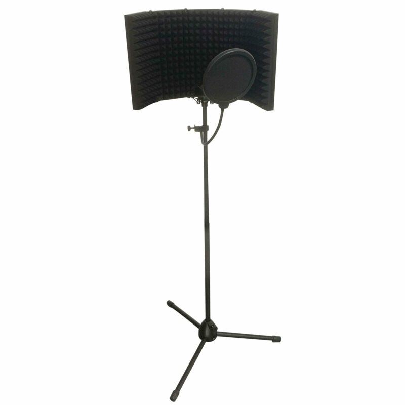 5-Panel Studio Microphone Isolation Shield Soundproof Filter with Mic Stand