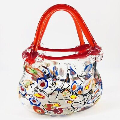Vintage Pier 1 Hand Blown Glass Purse Handbag Vase Planter Millifiori