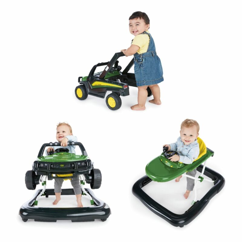 Bright Starts 3 Ways to Play John Deere Gator Baby Walker with Activity Station,