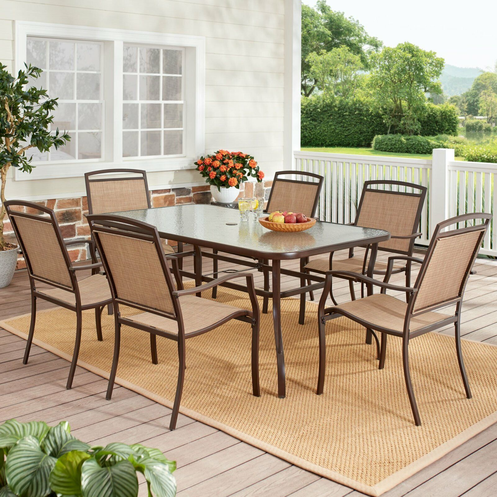 Garden Furniture - 7 Piece Outdoor Patio Dining Set Table Chairs Garden Furniture Yard Lawn Deck