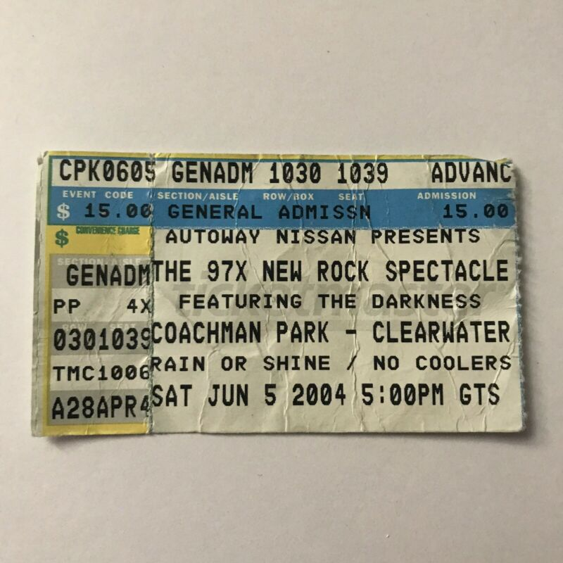 The Darkness Coachman Park 97X Clearwater FL Concert Ticket Stub Vtg June 2004