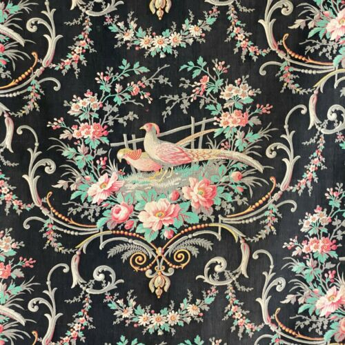 Antique French 1870 black pheasant fabric material floral bird motif