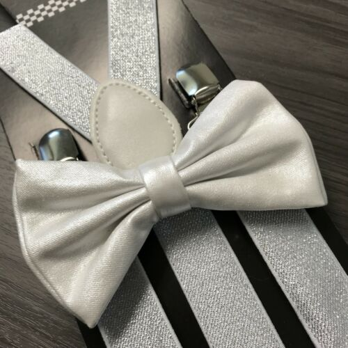 Metallic White Glitter Suspenders And Bow Tie Matching Set Wedding Prom Adult