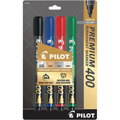 Pilot Premium 400 Permanent Marker Broad Chisel Tip Asst. Colors Pack Of 4