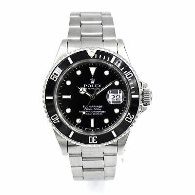 VINTAGE GENTS ROLEX SUBMARINER 16610 WRISTWATCH STAINLESS STEEL BOX PAPERS 1989