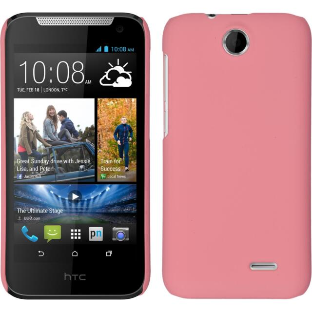 Hardcase HTC Desire 310 rubberized pink Cover + protective foils