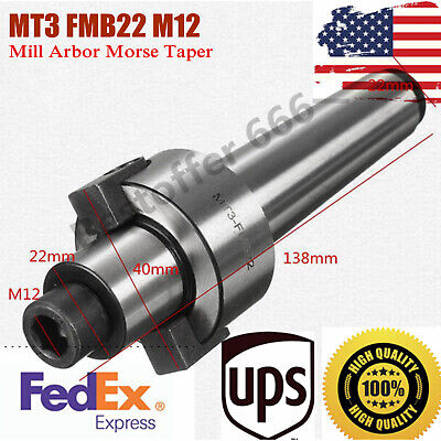 Cnc Machine Tool Mt3-fmb22 M12 Holder Face Mill Arbor Morse Taper Tool Holder Us