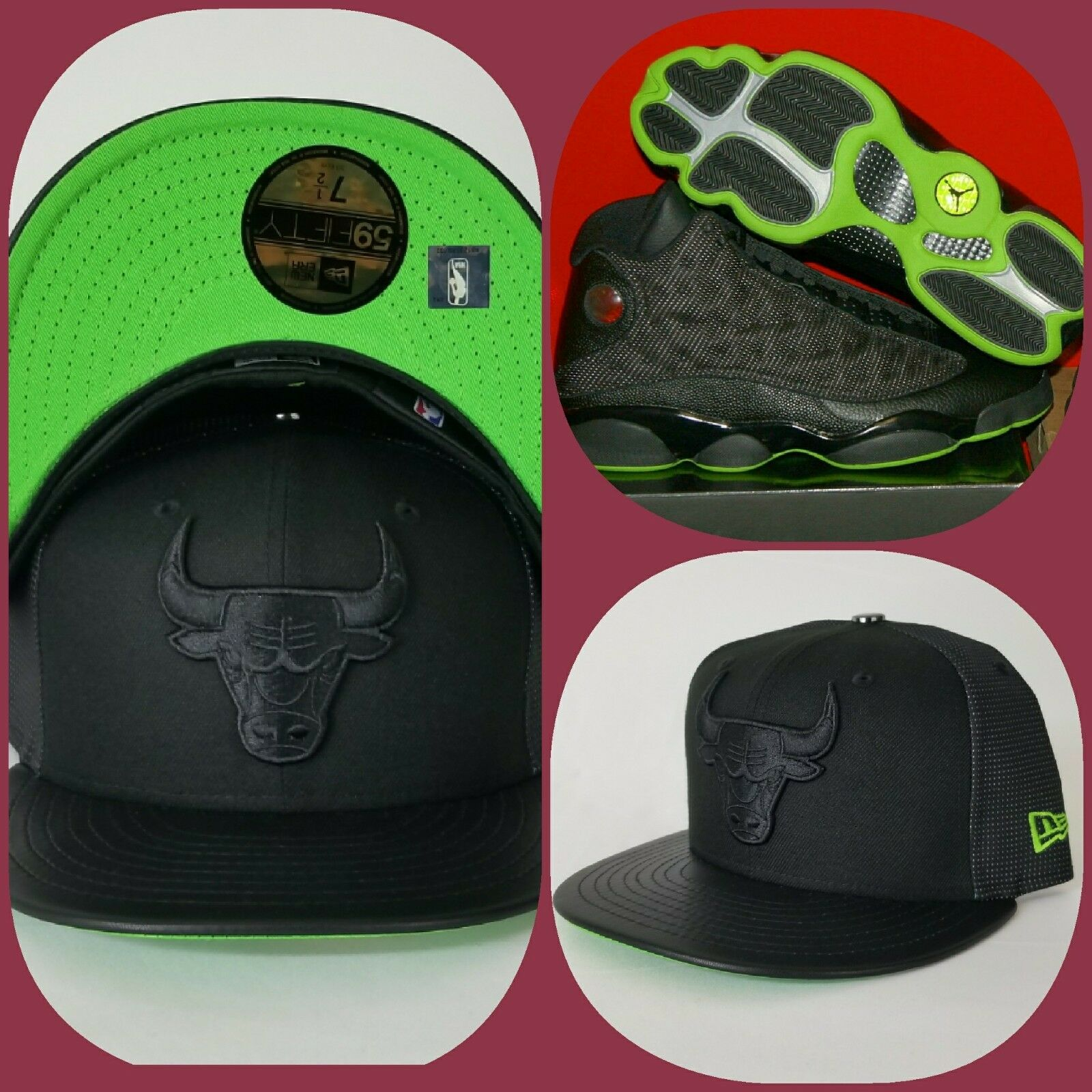 on sale 806b4 037be Details about New Era Chicago Bulls 59Fifty Fitted hat Jordan 13 Black  Altitude Green
