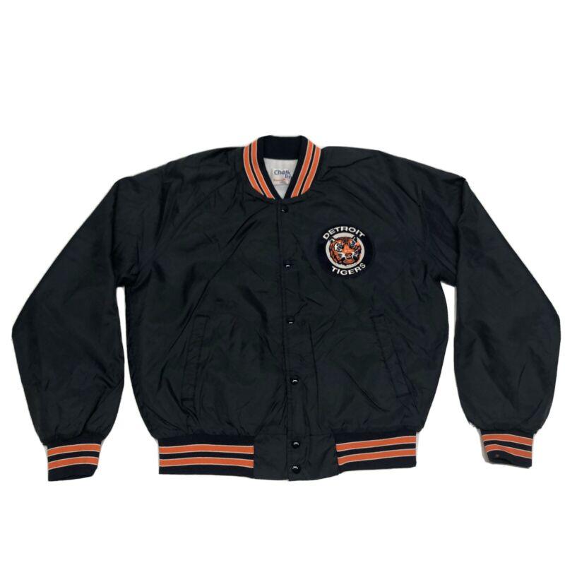 Vintage 80s Chalk Line Detroit Tigers Bomber Jacket Men's Large Navy Blue MLB