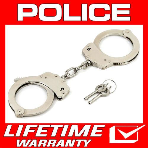 POLICE Handcuffs Professional Heavy Duty Metal Steel Double Lock  Silver