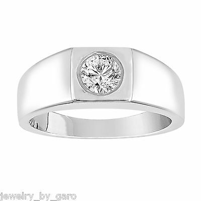 Solitaire Diamond Mens Wedding Ring 18K White Gold, 0.50 Carat GIA Certified (Mens 18 Carat White Gold Wedding Rings)