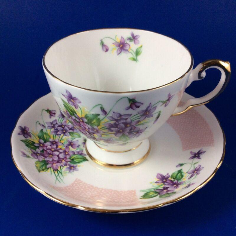 Tuscan Birthday Flowers - February's Violets - Fine Bone China Tea Cup & Saucer
