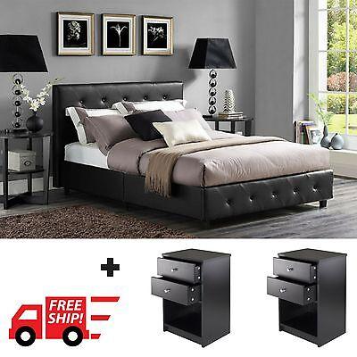 3 Piece Bedroom Furniture Set Queen Full Twin Size Platform Bed w/ 2 Nightstands