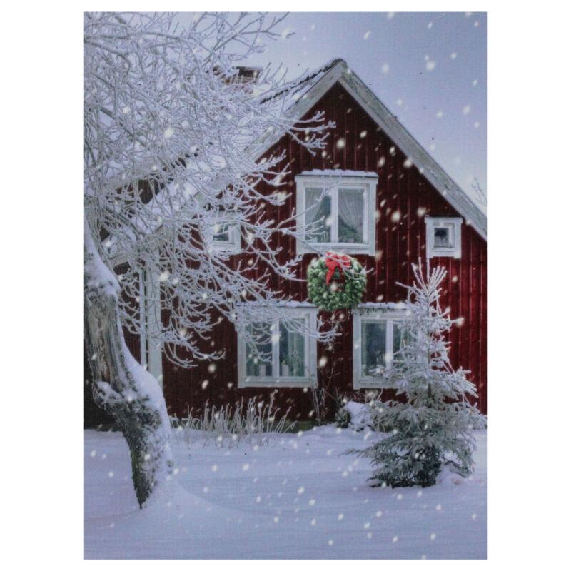 "Northlight LED Lighted Red Snowy Barn House Christmas Wall Art 15.75"" x 12"""