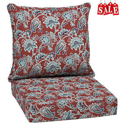 - Outdoor Deep Seat Chair Patio Cushions Set Red Pad UV Resistant Porch Furniture
