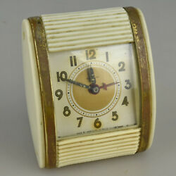 Vintage WESTCLOX 1950's Travel Alarm Clock Rolltop Made in USA WORKS