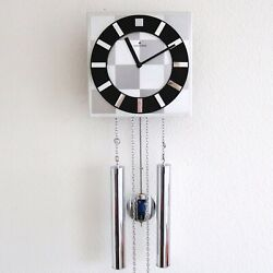 JUNGHANS Vintage Wall Clock SPECIALTY Chrome SPACE AGE LOUDSPEAKER Chime Germany