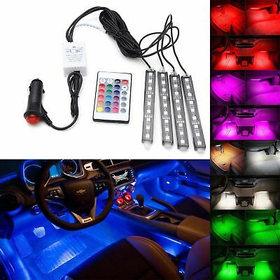 4x 5050SMD 9 LED RGB Car Strip Light Interior Decorative Colorful Remote Control](Lights For Decorations)