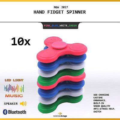 10x Lot Bluetooth Speaker LED Fidget Spinner Hand Spinner Toy Music USA !!!